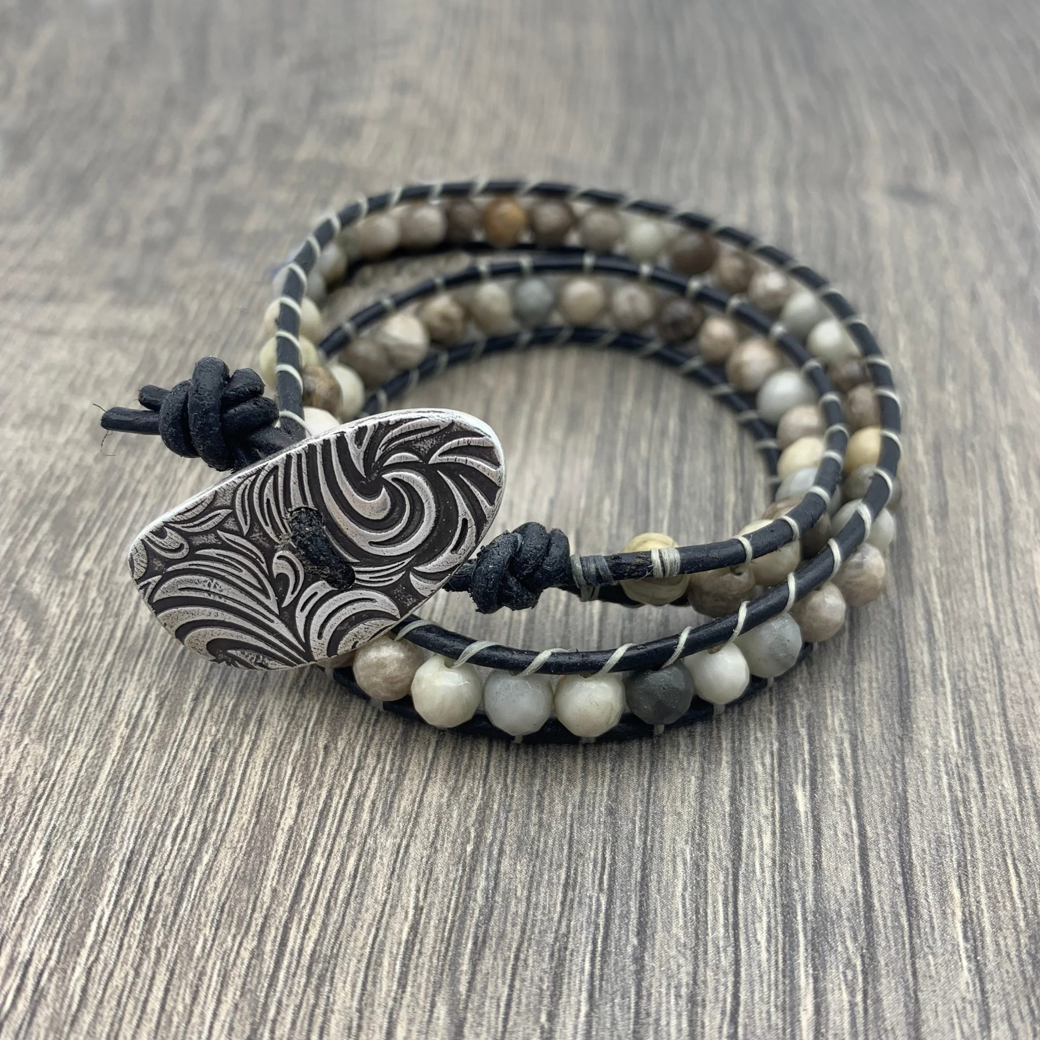 Silver Leaf Agate Leather Wrap Bracelet With Handmade Sterling On